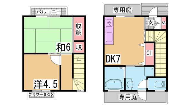 物件番号: 1111209258 長田テラス  神戸市長田区池田広町 2DK マンション 間取り図