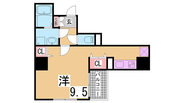 物件番号: 1111212129  神戸市須磨区衣掛町4丁目 1K マンション 間取り図