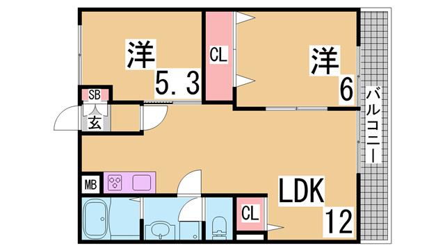 物件番号: 1111212629  神戸市北区八多町附物 2LDK ハイツ 間取り図