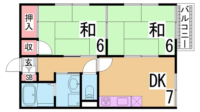 物件番号: 1111212838  神戸市垂水区塩屋町4丁目 2DK ハイツ 間取り図