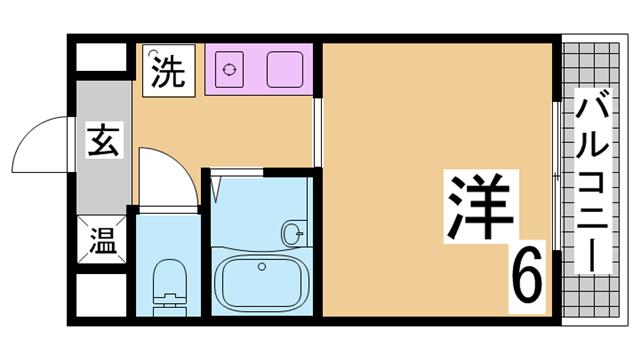 物件番号: 1111213073  神戸市兵庫区水木通4丁目 1K マンション 間取り図