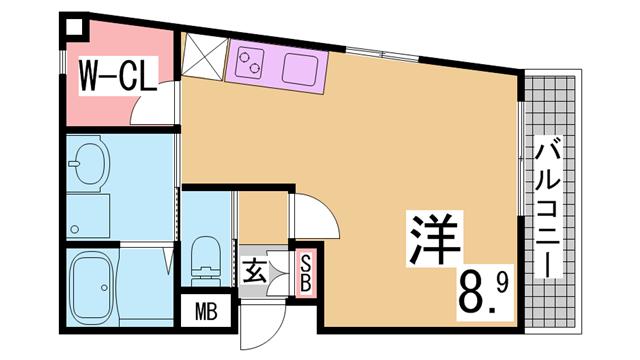 物件番号: 1111214288  神戸市垂水区塩屋町3丁目 1K マンション 間取り図