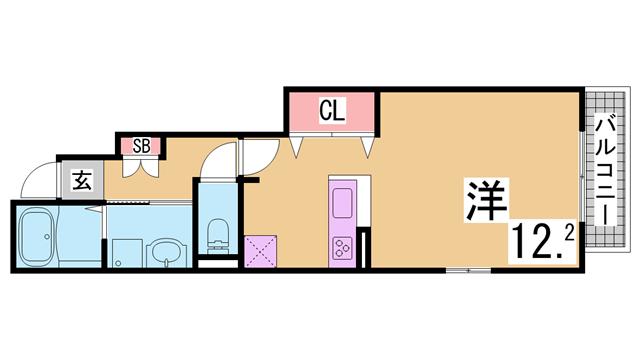 物件番号: 1111215371  神戸市長田区長田町7丁目 1K ハイツ 間取り図