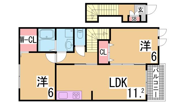 物件番号: 1111215627  神戸市北区上津台2丁目 2LDK ハイツ 間取り図