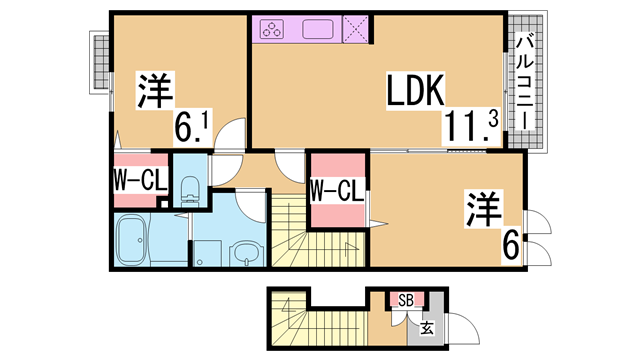 物件番号: 1111215632  神戸市北区上津台2丁目 2LDK ハイツ 間取り図