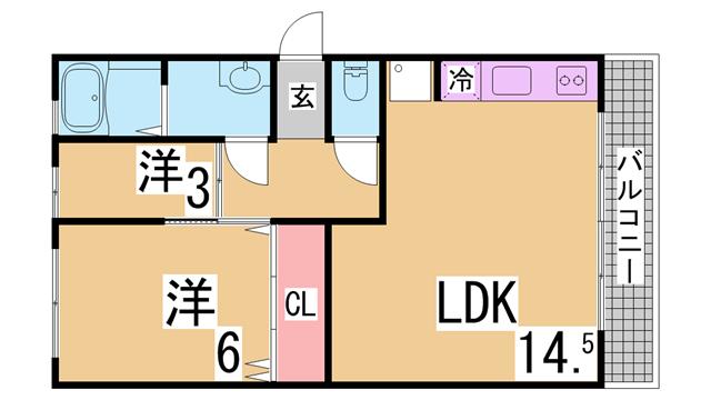 物件番号: 1111215656 カーサ・コリーナⅠ  神戸市北区上津台2丁目 2DK ハイツ 間取り図