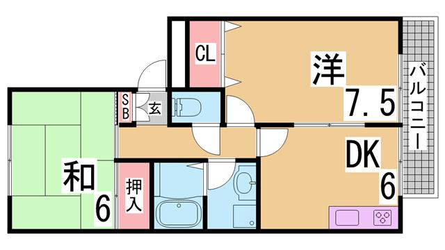 物件番号: 1111216313  西宮市山口町中野 2DK アパート 間取り図