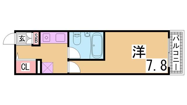 物件番号: 1111217448 ウノ・アンビエンテ湊川  神戸市兵庫区下沢通1丁目 1K マンション 間取り図