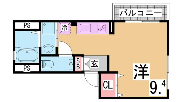 物件番号: 1111220827  神戸市兵庫区下沢通3丁目 1K アパート 間取り図