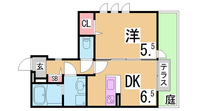 物件番号: 1111221382  神戸市北区谷上西町 1DK ハイツ 間取り図