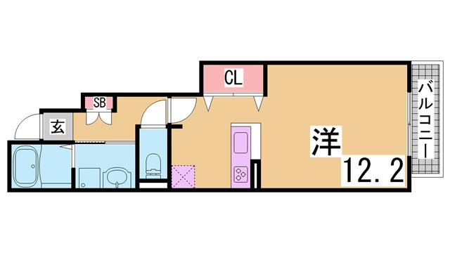 物件番号: 1111223607 エンプレイスⅡ  神戸市北区有野町有野 1R ハイツ 間取り図