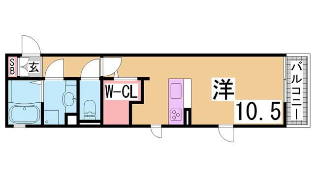 物件番号: 1111223912  神戸市兵庫区松本通6丁目 1K アパート 間取り図