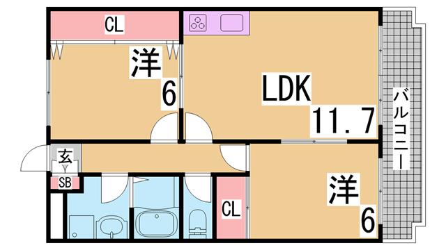 物件番号: 1111224880  神戸市北区谷上西町 2LDK マンション 間取り図