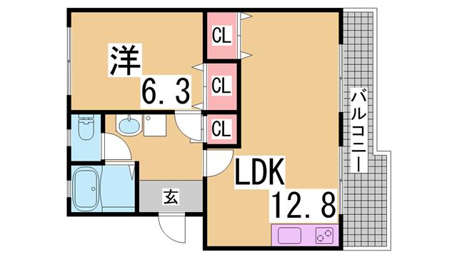 物件番号: 1111224916  神戸市北区泉台7丁目 1LDK マンション 間取り図