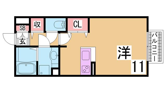 物件番号: 1111226356  神戸市北区道場町日下部字中筋 1K ハイツ 間取り図