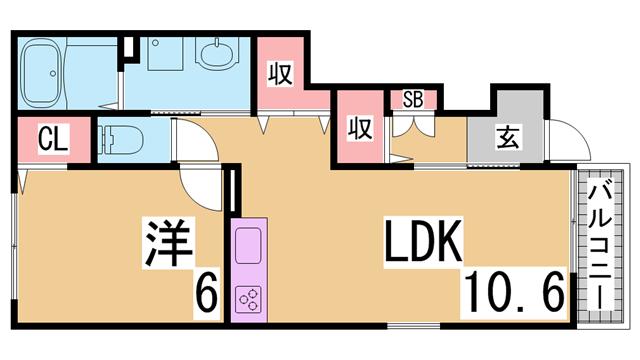物件番号: 1111226378  神戸市北区有野町有野 1LDK ハイツ 間取り図