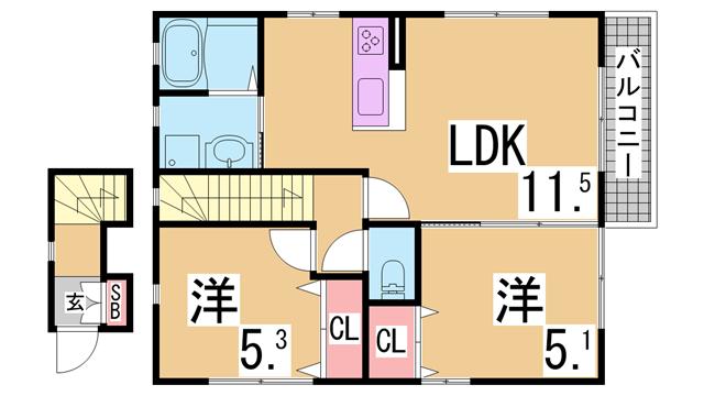 物件番号: 1111226443  神戸市須磨区月見山本町1丁目 2LDK ハイツ 間取り図