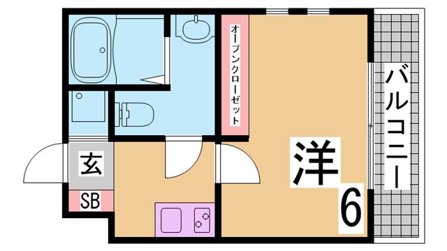 物件番号: 1111226860  神戸市兵庫区水木通9丁目 1K マンション 間取り図