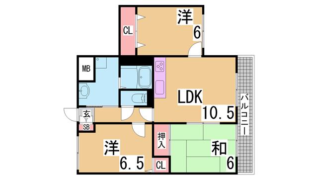物件番号: 1111232003  神戸市長田区長田町5丁目 3LDK マンション 間取り図