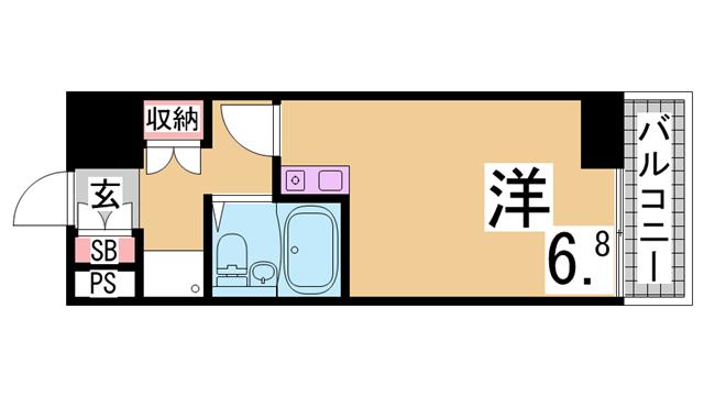 物件番号: 1111232531  神戸市兵庫区中道通1丁目 1K マンション 間取り図