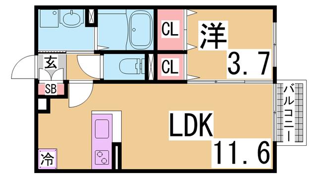 物件番号: 1111234638  神戸市長田区平和台町3丁目 1LDK アパート 間取り図