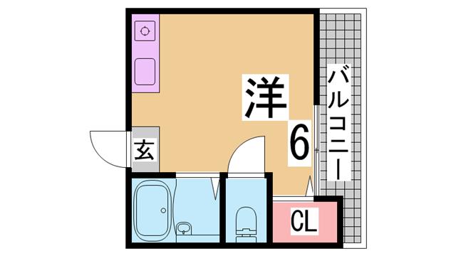 物件番号: 1111234787  神戸市中央区北野町4丁目 1K マンション 間取り図