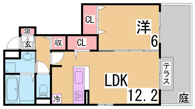 物件番号: 1111235484  神戸市北区道場町日下部 1LDK ハイツ 間取り図