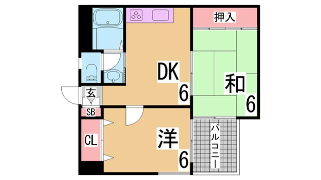 物件番号: 1111237457  神戸市兵庫区小河通2丁目 2DK マンション 間取り図