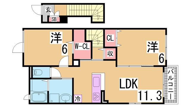 物件番号: 1111239858 プランセスⅢ  神戸市北区有野町有野 2LDK ハイツ 間取り図