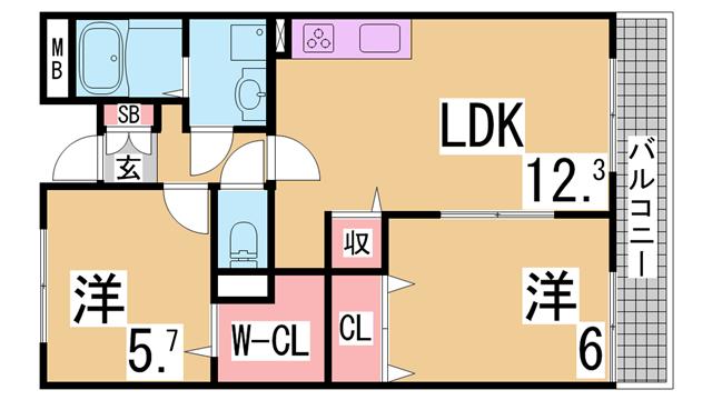 物件番号: 1111242079  神戸市北区有野町二郎 2LDK マンション 間取り図