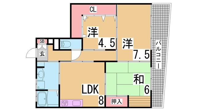 物件番号: 1111244389 惣町サンハイツ 3号棟  神戸市長田区上池田3丁目 3LDK マンション 間取り図
