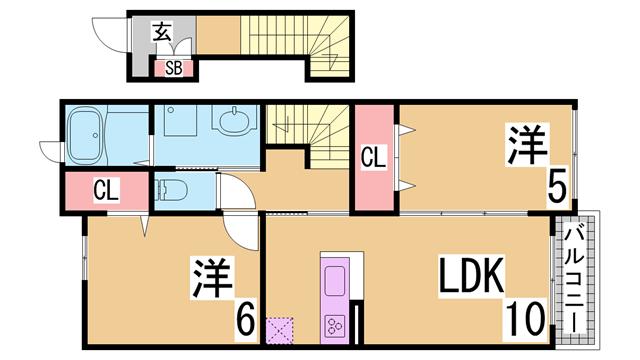 物件番号: 1111245351  神戸市北区藤原台南町3丁目 2LDK ハイツ 間取り図