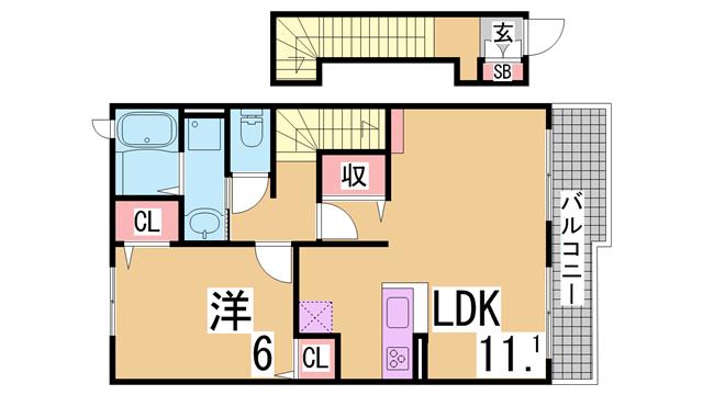 物件番号: 1111248605  神戸市長田区苅藻通2丁目 1LDK ハイツ 間取り図