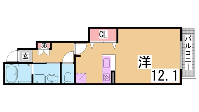 物件番号: 1111249110  神戸市北区八多町中 1K ハイツ 間取り図