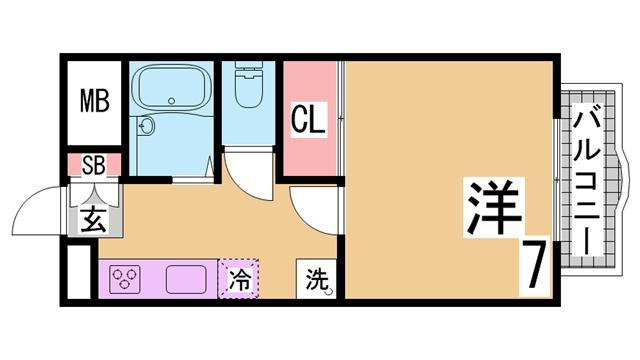物件番号: 1111249419  神戸市須磨区妙法寺乗越 1K マンション 間取り図