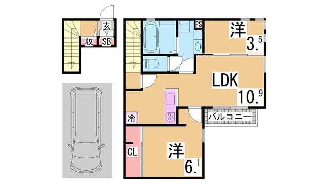 物件番号: 1111249676  神戸市北区杉尾台1丁目 2LDK ハイツ 間取り図