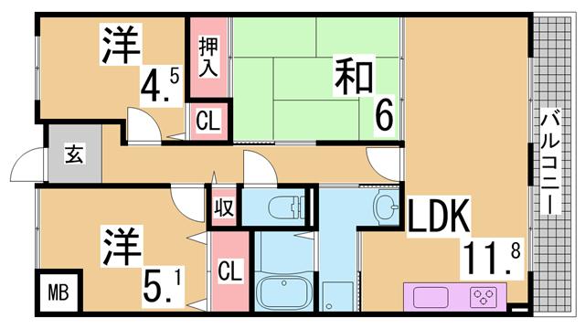 物件番号: 1111249775  神戸市北区谷上西町 3LDK マンション 間取り図