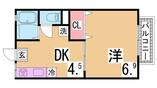 物件番号: 1111250060 メゾンドゥフルール  神戸市北区鈴蘭台北町7丁目 1DK ハイツ 間取り図