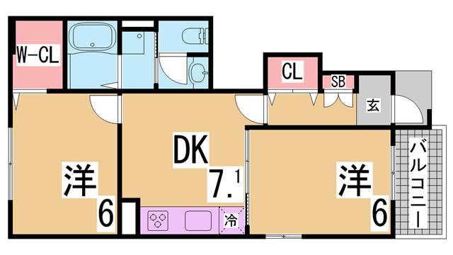 物件番号: 1111251390  神戸市北区有野町有野 2DK ハイツ 間取り図