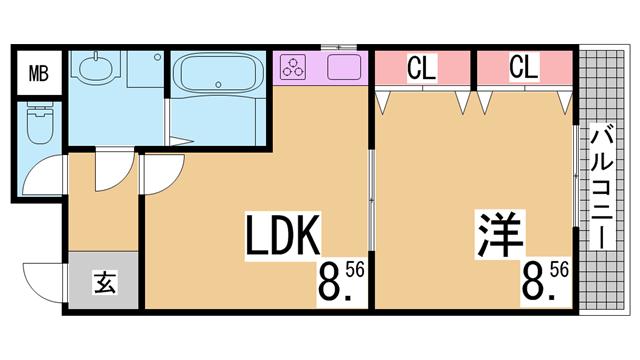 物件番号: 1111251871  神戸市兵庫区七宮町2丁目 1LDK マンション 間取り図