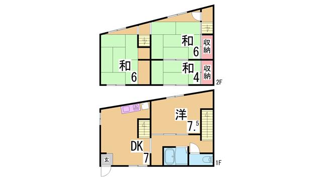 物件番号: 1111253231  神戸市長田区山下町4丁目 4DK 貸家 間取り図