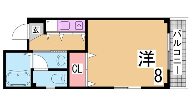 物件番号: 1111254145  神戸市須磨区大池町1丁目 1K マンション 間取り図