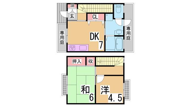 物件番号: 1111254893  神戸市長田区池田広町 2DK マンション 間取り図