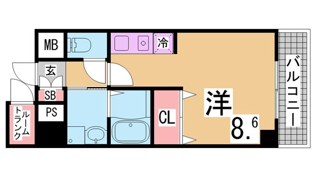 物件番号: 1111255804  神戸市兵庫区大開通3丁目 1K マンション 間取り図