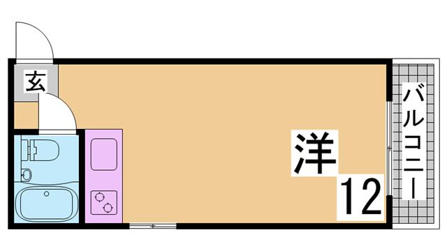 物件番号: 1111261373 カタオカマンション  神戸市兵庫区下祇園町 1R マンション 間取り図