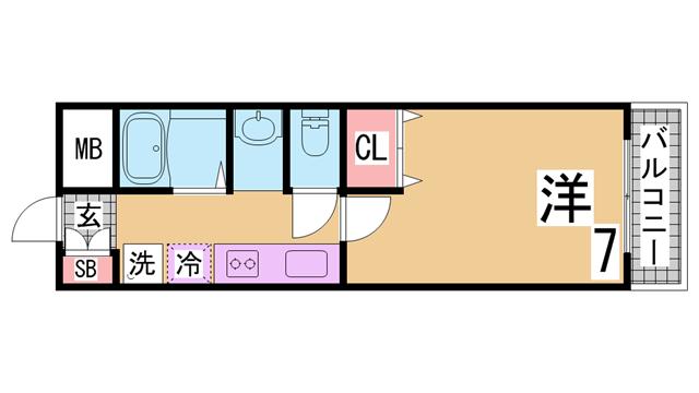 物件番号: 1111261534  神戸市須磨区須磨浦通6丁目 1K マンション 間取り図