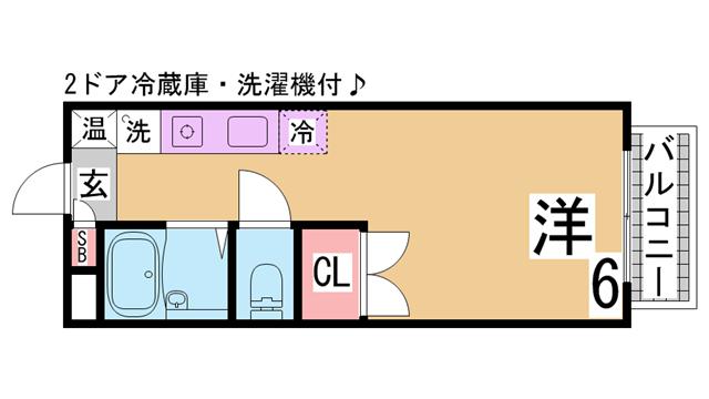 物件番号: 1111263291  神戸市須磨区多井畑東町 1K ハイツ 間取り図