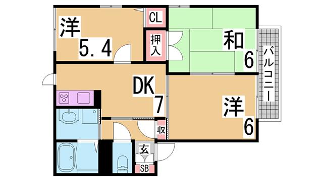 物件番号: 1111263710  神戸市北区有野中町3丁目 3DK ハイツ 間取り図