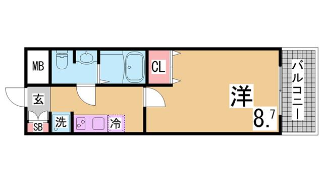 物件番号: 1111264325  神戸市長田区北町1丁目 1K マンション 間取り図