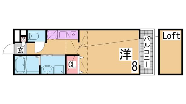 物件番号: 1111264564  神戸市須磨区妙法寺字池ノ中 1SK ハイツ 間取り図